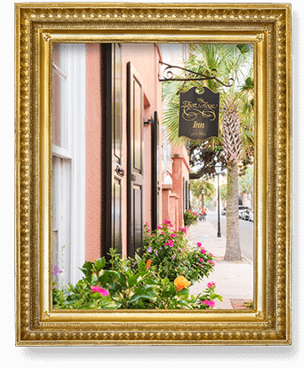 Framed picture of front of Inn
